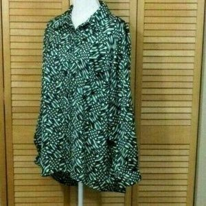 Michael Kors Green Black & White Print Poly Blouse
